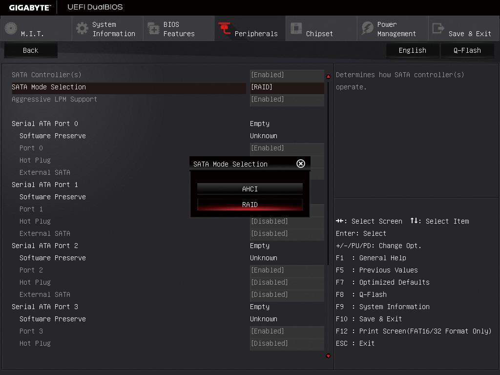 """<b class="""""""">1. 動作モードをRAIDに変更</b><br class="""""""">UEFIを起動し、「Peripherals」を選択。SATA Mode Selectionを「RAID」に変更する"""