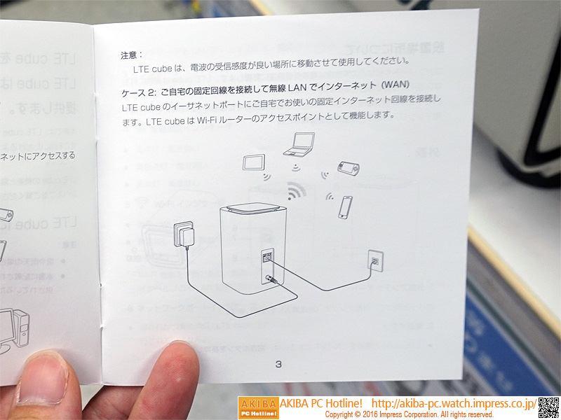 自宅の固定回線に接続することで、無線LANのアクセスポイントとしても利用できる。