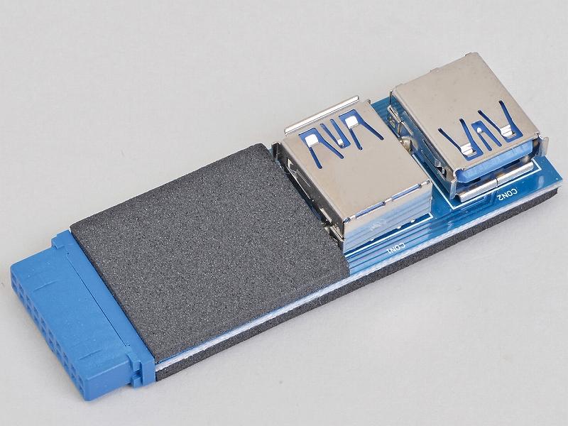 """<b class="""""""">アイネックス<br class="""""""">ケース用USB3.0アダプタ USB-012<br class="""""""">実売価格:1,000円前後</b><br class="""""""">マザーボード上のUSB 3.0ヘッダに挿し、USB 3.0 Type-Aコネクタ2基を増設するアダプタ。USBメモリを内蔵ドライブのように扱うことなどが可能になる"""