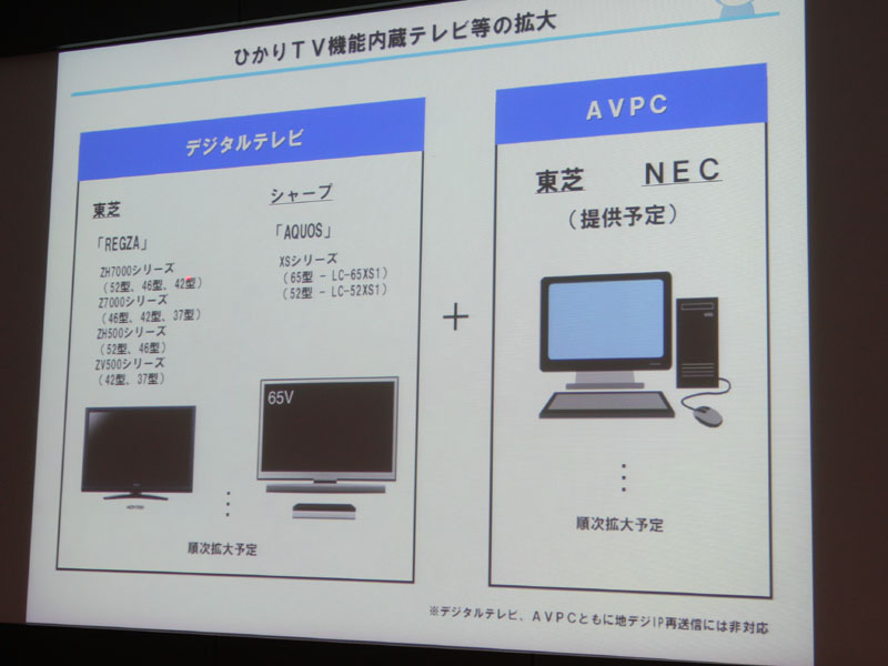 テレビの対応機種はREGZAとAQUOSの一部モデル