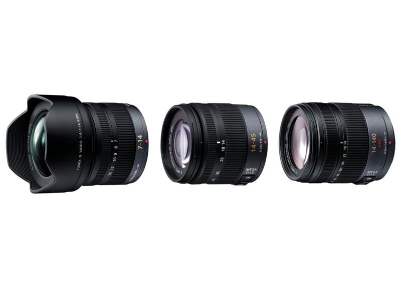 交換用レンズ。左から広角ズーム「H-F007014」、標準ズーム「H-FS014045」、高倍率ズーム「H-VS014140」