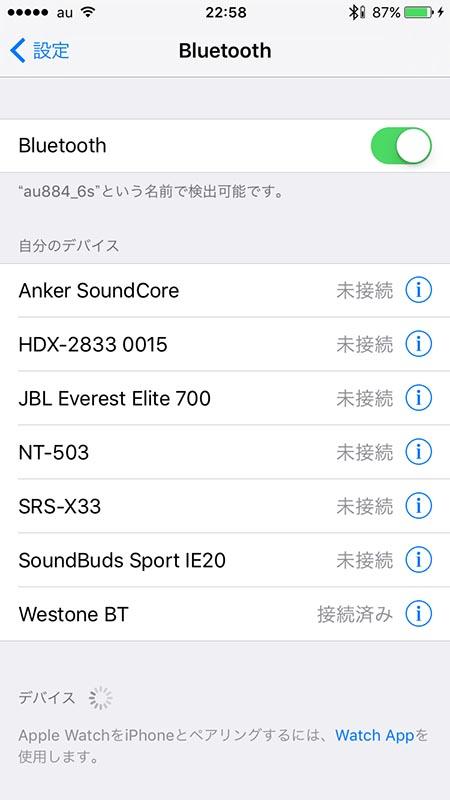 iPhone接続時の画面