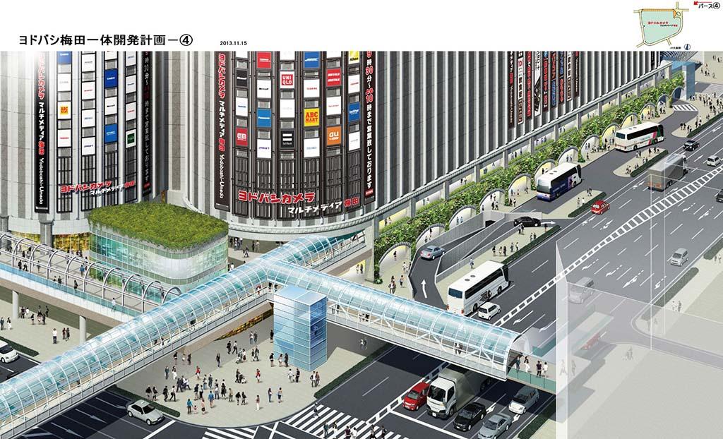 新阪急ホテル側、計画北側エリアからアクセスできる回遊デッキ