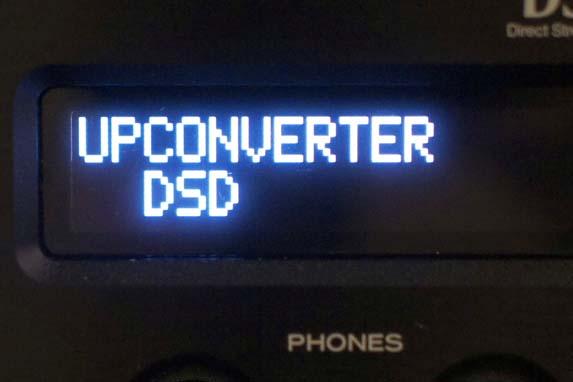 メニュー画面のアップコンバーターの切り換え画面。写真ではDSD変換再生を選択している
