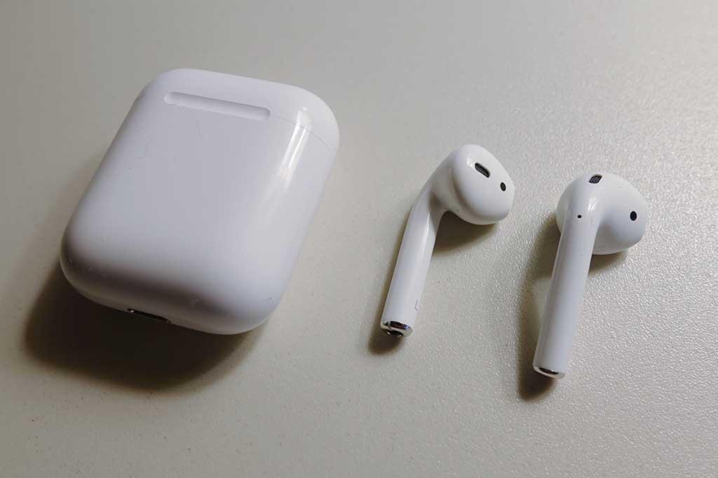 AirPodsを取り出してみた。耳に入れる部分はとても小さく軽い