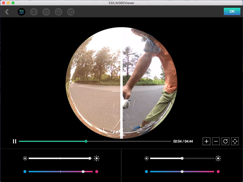 2つのカメラの色味やタイミングを合わせることができる