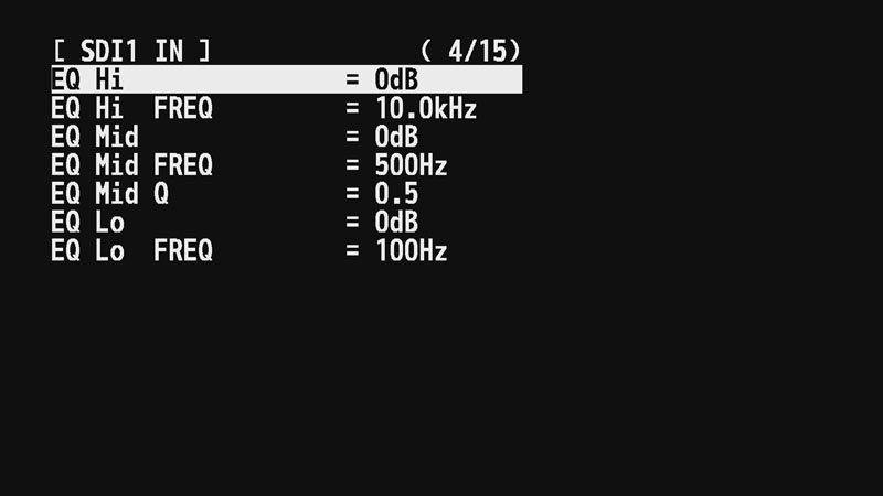 3バンドEQの設定画面