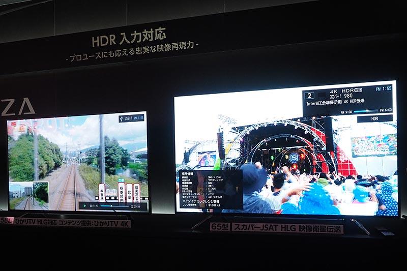 左がひかりTV、右がスカパーJSATのHLG伝送映像を使ったREGZAのデモ