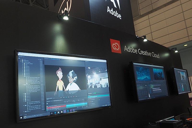 Adobe Creative Cloud最新版などを紹介し、セミナーなども人気のアドビとIntelの共同ブース
