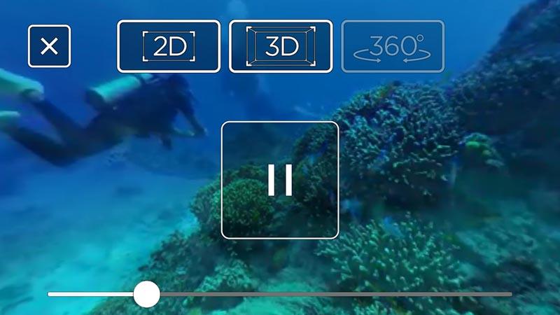 360Viewer for Moverioで映像を見た時の画面。2D表示、2眼での3D表示、360度表示などが可能