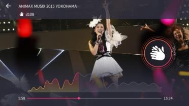 映像コンテンツの視聴画面例。Clap機能やヒートマップ機能を備える
