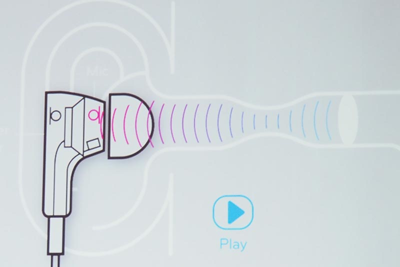 音楽再生時に、耳の中で反射する音を検知