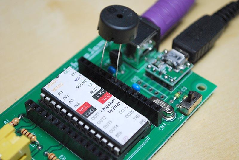 SOUND端子とGND端子に圧電ブザーを接続すると音が鳴った