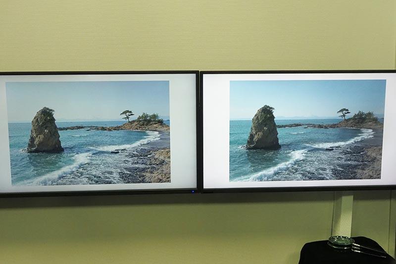 静止画への適用例。左がプロの撮影/現像、右がアマチュア撮影後にISVC処理を施したもの