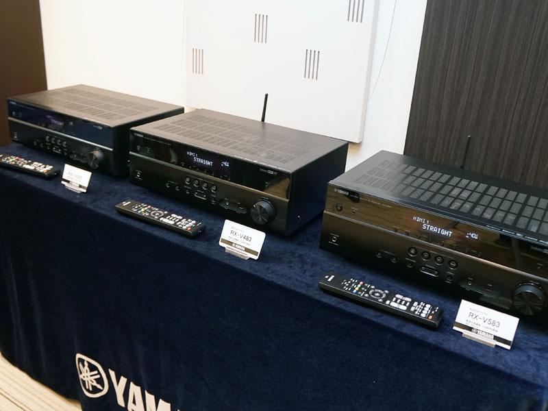 右から「RX-V583」、「RX-V483」、「RX-V383」。V383については別記事で紹介している