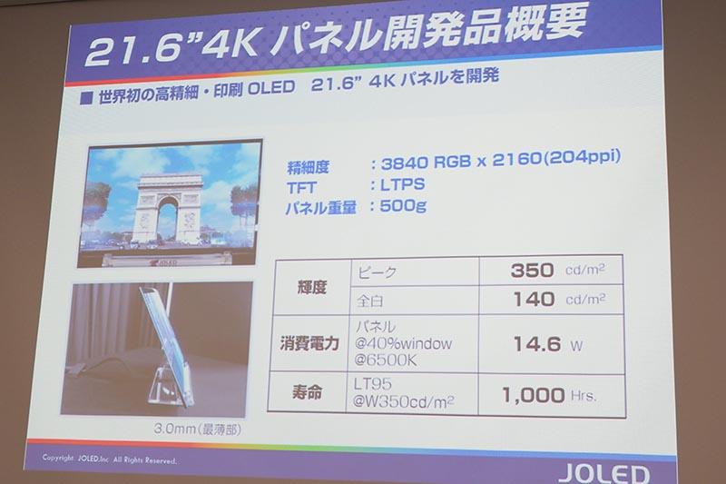 21.6型4K有機ELパネルの主な特徴
