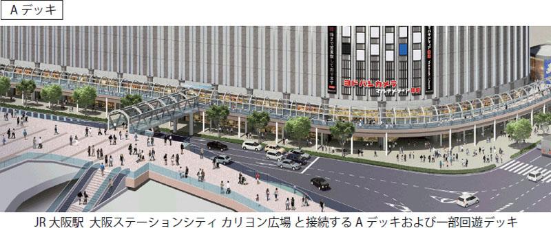 ヨドバシ梅田ビルとカリヨン広場を結ぶ「ペデストリアンデッキ」のAデッキイメージ