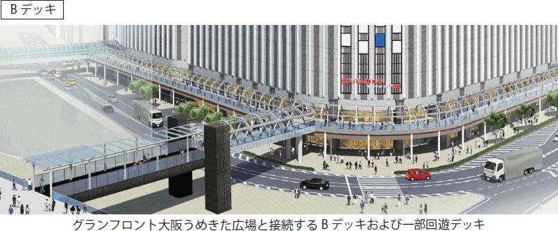 グランフロント大阪うめきた広場と結ぶBデッキのイメージ