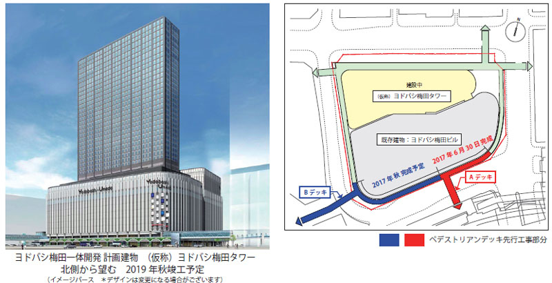 左の完成イメージ、奥にある高い建物が「(仮称)ヨドバシ梅田タワー」のイメージ
