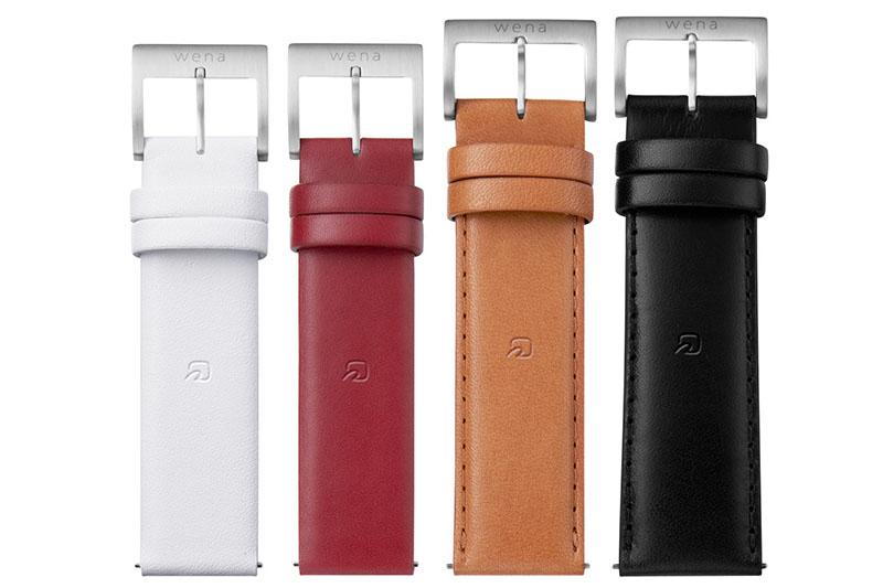 wena wrist leatherのカラーバリエーション。左からホワイト、ワインレッド、タウニーブラウン、ブラック