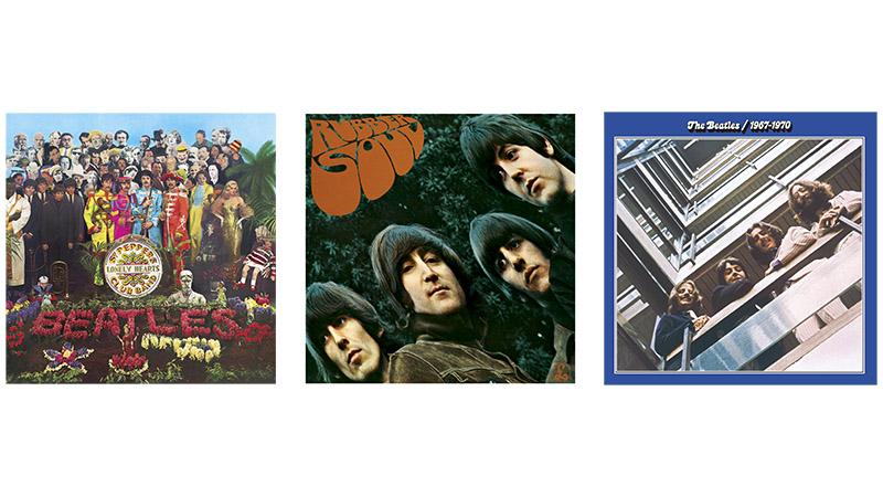 「SGT. PEPPER'S LONELY HEARTS CLUB BAND」(左/第2号収録)、「RUBBER SOUL」(中央/第3号)、「ザ・ビートルズ1967年-1970年(青盤)」(右/第19号)
