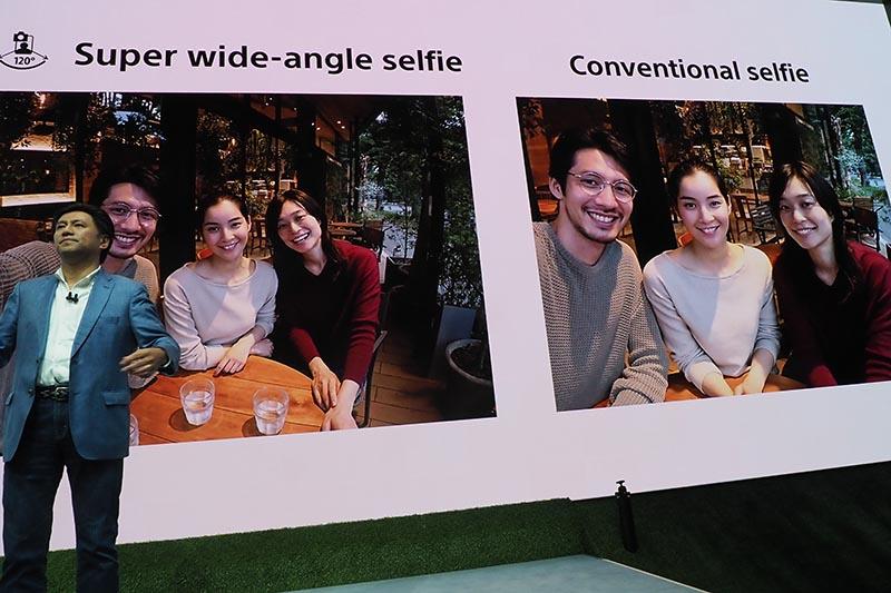 左がSuper wide-angle selfie