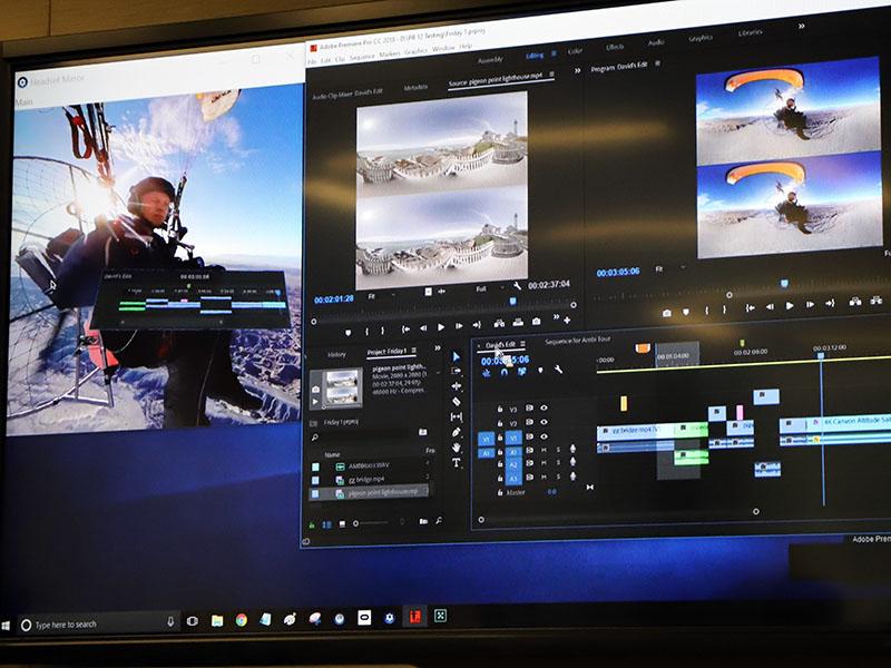 Premiere Pro CC。VR映像編集のプレビュー画面(左端)に、HMD表示用タイムラインが見える