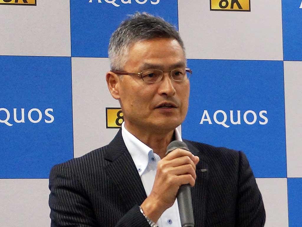 シャープ TVシステム事業本部の喜多村和洋副事業本部長(8月の記者会見で撮影)