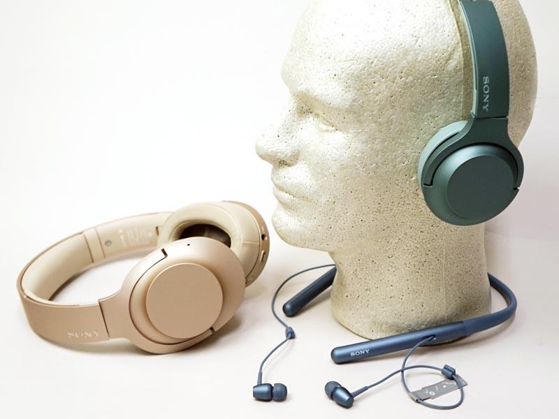 新「h.ear」シリーズのワイヤレスモデル。左からヘッドフォン「h.ear on 2 Wireless NC(WH-H900N)」、ネックバンド型「h.ear in 2 Wireless(WI-H700)」、オンイヤー型「h.ear on 2 Mini Wireless(WH-H800)」