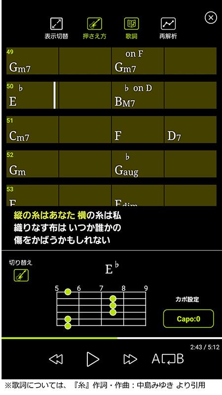 mysoundプレーヤーに、音声解析技術によるコード表示機能