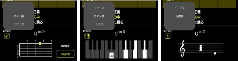 表示形式はギター譜/ピアノ譜/五線譜の3種類