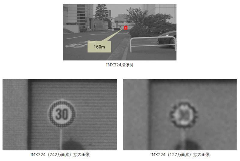 約160m先にある交通標識を撮影したところ。左がIMX324、右が従来モデルのIMX224MQV(127万画素)