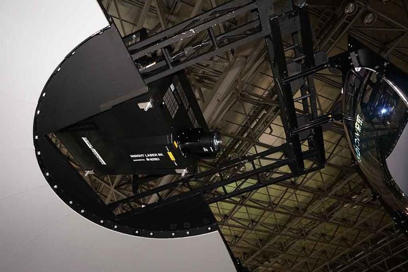 8K映像をミラー(凸面鏡)を用いて大型の湾曲スクリーンに投射する