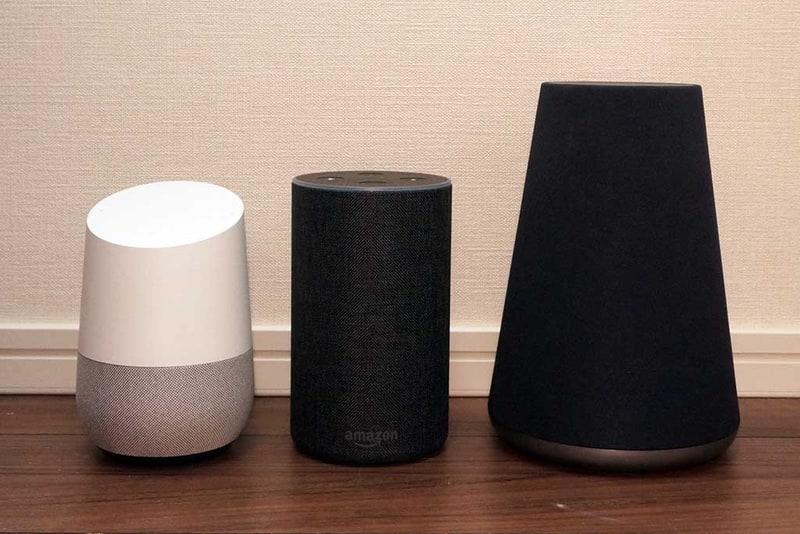 左からGoogle Home、Echo、Clova WAVE