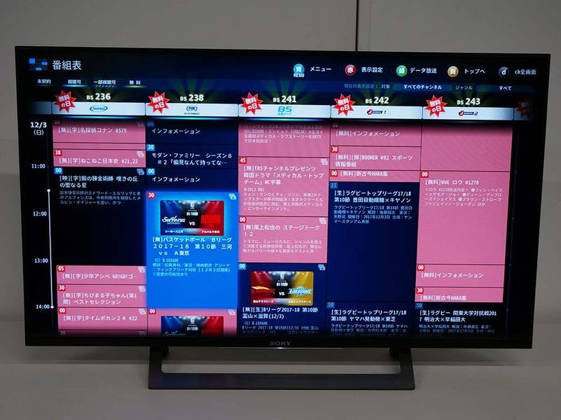 無料開放を視覚的に把握できる。赤い番組は無料で視聴可能