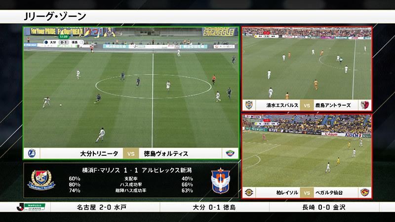 「Jリーグ・ゾーン」の画面例