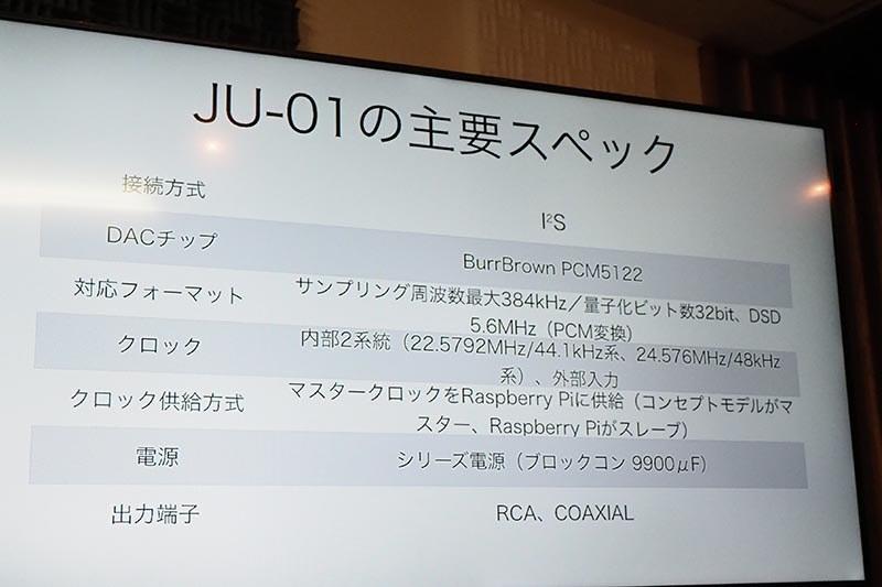 JU-001の主要スペック