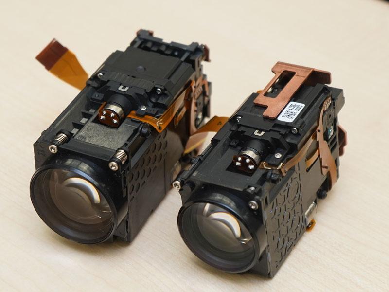 左から新モデルのレンズユニット、右は従来モデル