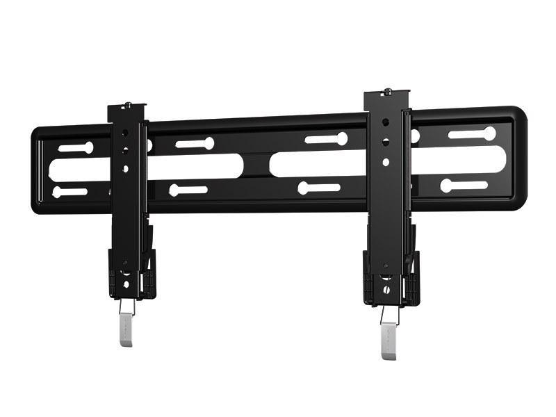SANUSの「フラットマウント」タイプの「VLL5」。薄型の半固定金具で、設置後も水平方向のスライドが可能。金具の重量は3.5kg、耐荷重は56.7kg。シンプルに取り付けたい人に(画像はネットワークジャパン提供)
