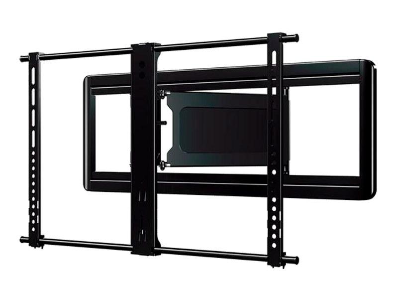 SANUSの「フルモーションマウント」タイプの「VLF613」。チルト、スイーベル、奥行き方向の移動、水平調整などが可能。ユーザーの視聴スタイルに合わせてポジションを変えられる。金具の重量は17.8kg、耐荷重は56.7kg