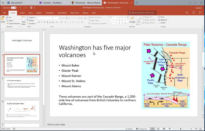 マイクロソフトの説明動画より。ウインドウ上部に「タブ」があり、複数の種類の文書がまとめられている点に注目