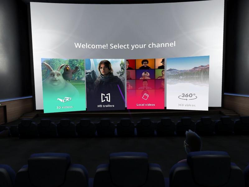 映画館を再現した「CineVR」。ネット経由で友人を集め、一緒に動画を見ることも可能