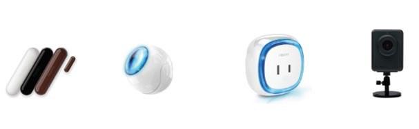 左から「開閉センサー 02」、「モーションセンサー 01」、「スマートプラグ 02」、「ネットワークカメラ 02」
