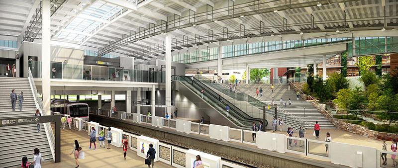「南町田駅」から改称し、新しくなる「南町田グランベリーパーク駅」のイメージ