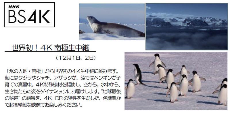 BS4Kでは、世界初となる南極からの4K生中継を実施