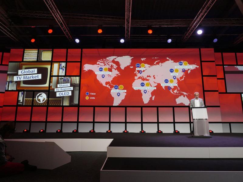 IFAのオープニング・プレスカンファレンスで発表された衝撃的な光景。世界のあらゆる地域を差し置いて、ヨーロッパではOLEDテレビが売れに売れまくっているという。各メーカーの担当者に聞いても、やはりOLEDテレビはヨーロッパで絶好調だという返答が、異口同音に返ってきた