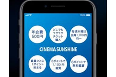 シネマサンシャインリワードアプリの画面