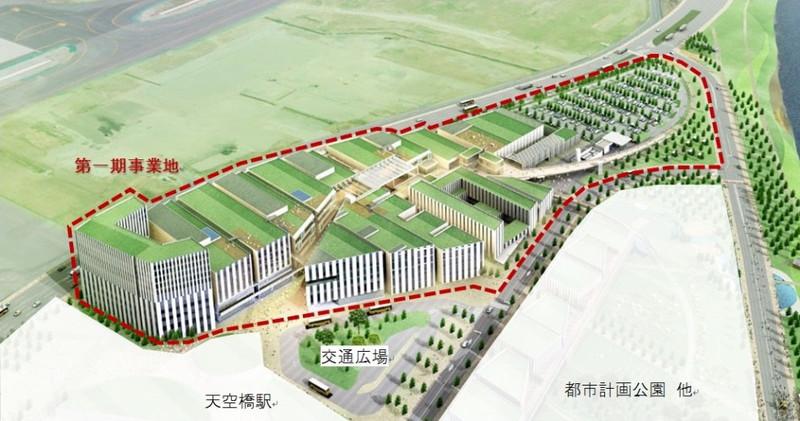 羽田空港跡地第1ゾーンは、東京モノレール「天空橋駅」の直上に位置する約16.5haの広大な敷地。この中に「(仮称)Zepp Haneda(TOKYO)」がオープンする