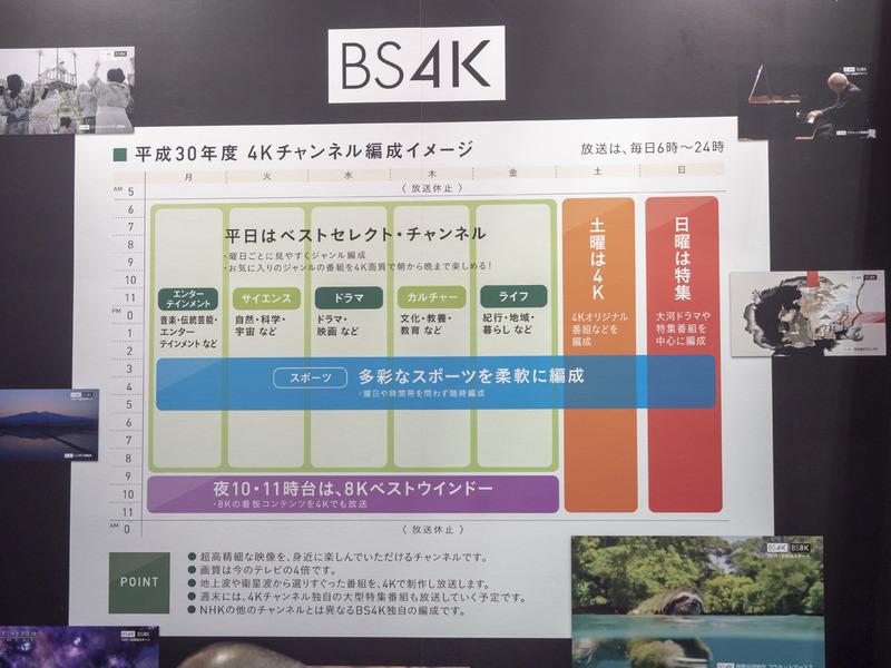 """従来の右旋アンテナで受信可能なNHK SHV 4Kのプログラムイメージ。朝6時から日付が変わる0時までの1日18時間、みっちりと""""真水の4K番組""""を放送することが予定されている"""