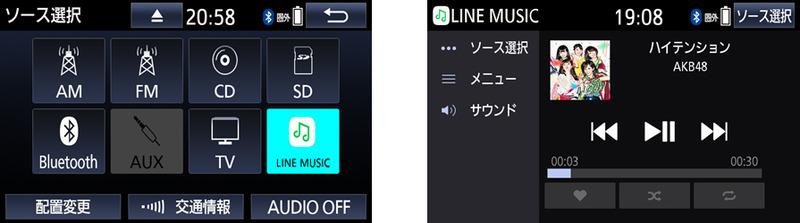利用イメージ。「ソース選択」から「LINE MUSIC」を選択。聞きたい楽曲を選択して再生